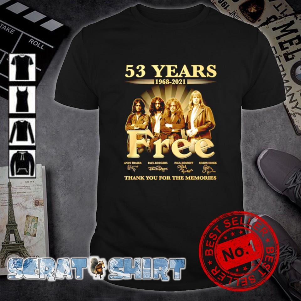 53 years 1968 2021 Free thank you for the memories shirt