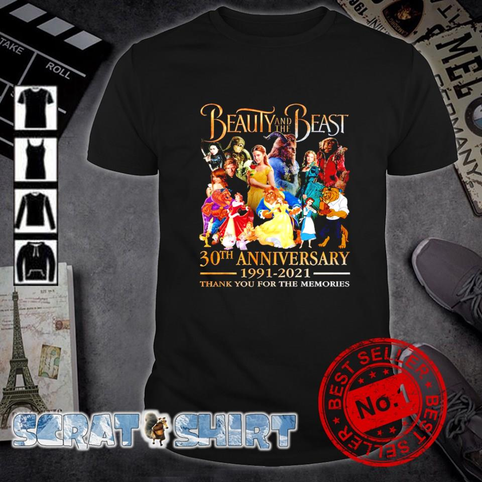 Beauty and The beast 30th Anniversary 1991 2021 thank you for the memories shirt