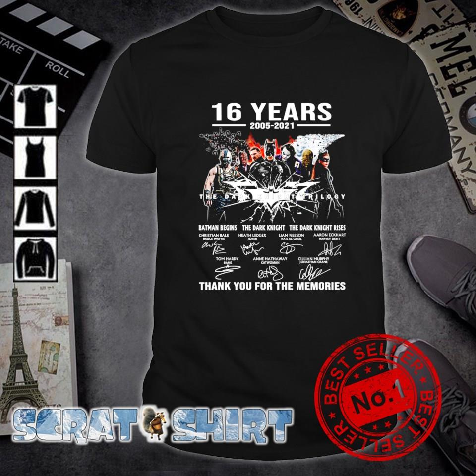 The Dark Knight Trilogy 16th Anniversary 2005 2021 thank you for the memories shirt