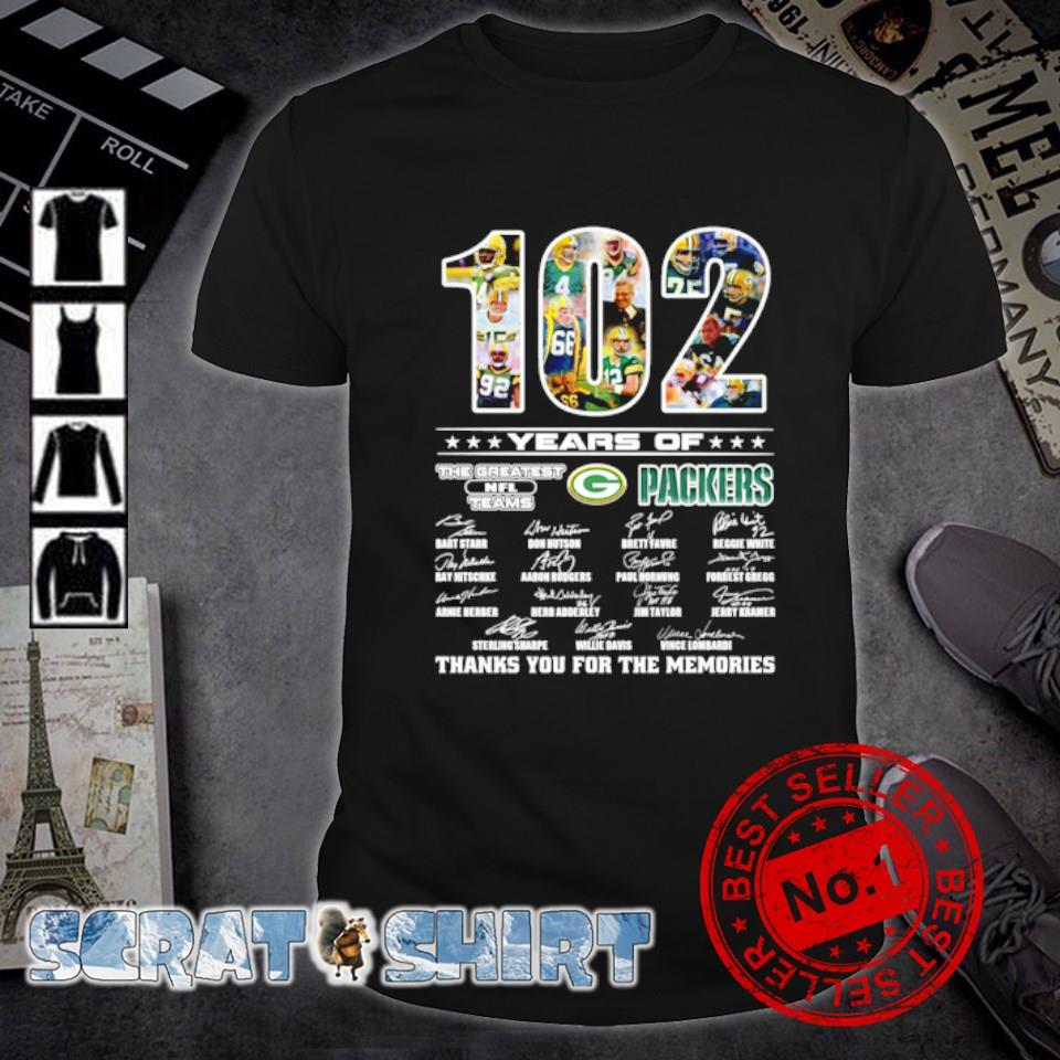 102 years of Packers the greatest NFL teams thanks you for the memories shirt