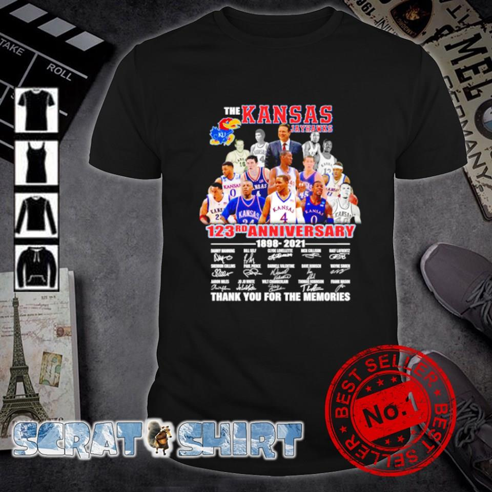The Kansas Jayhawks 123rd Anniversary 1898 2021 thank you for the memories shirt