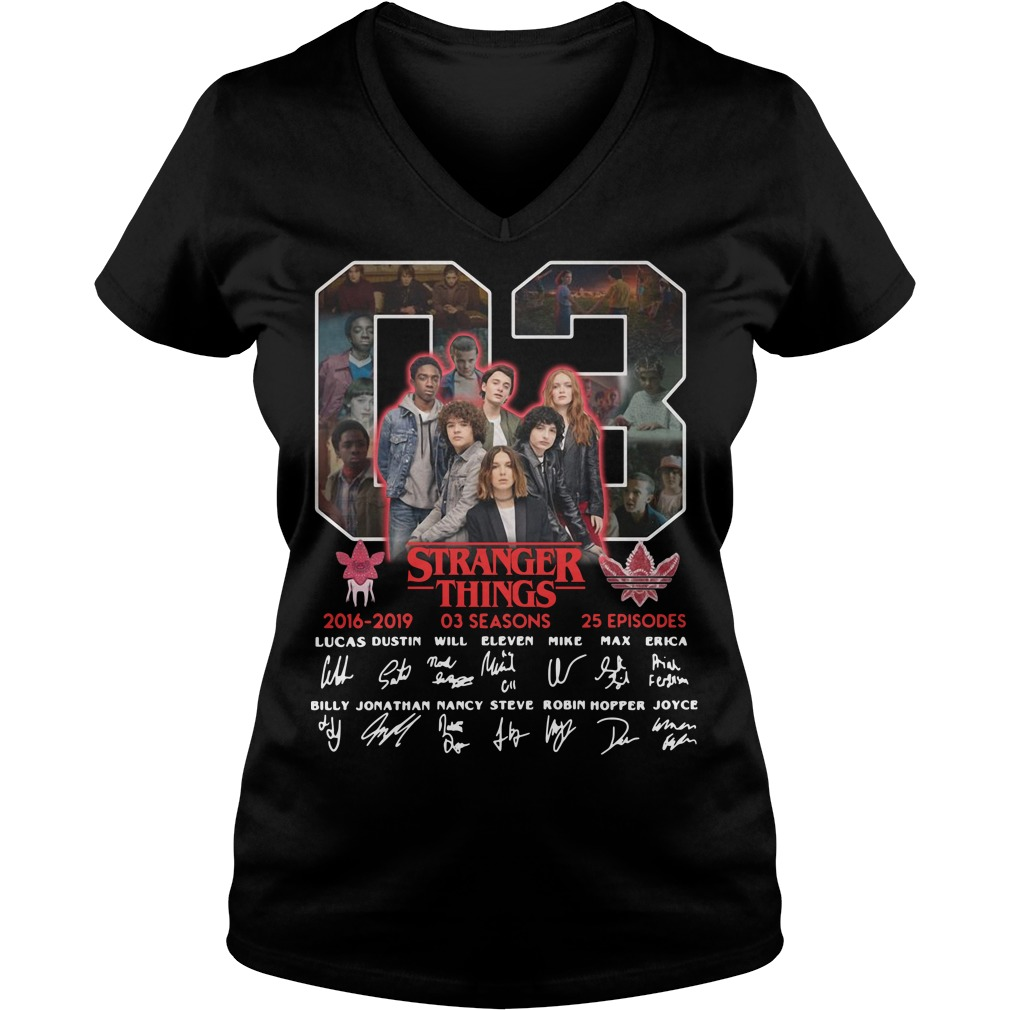 03 Stranger Things 2016 - 2019 3 seasons 25 episodes signature V-neck T-shirt