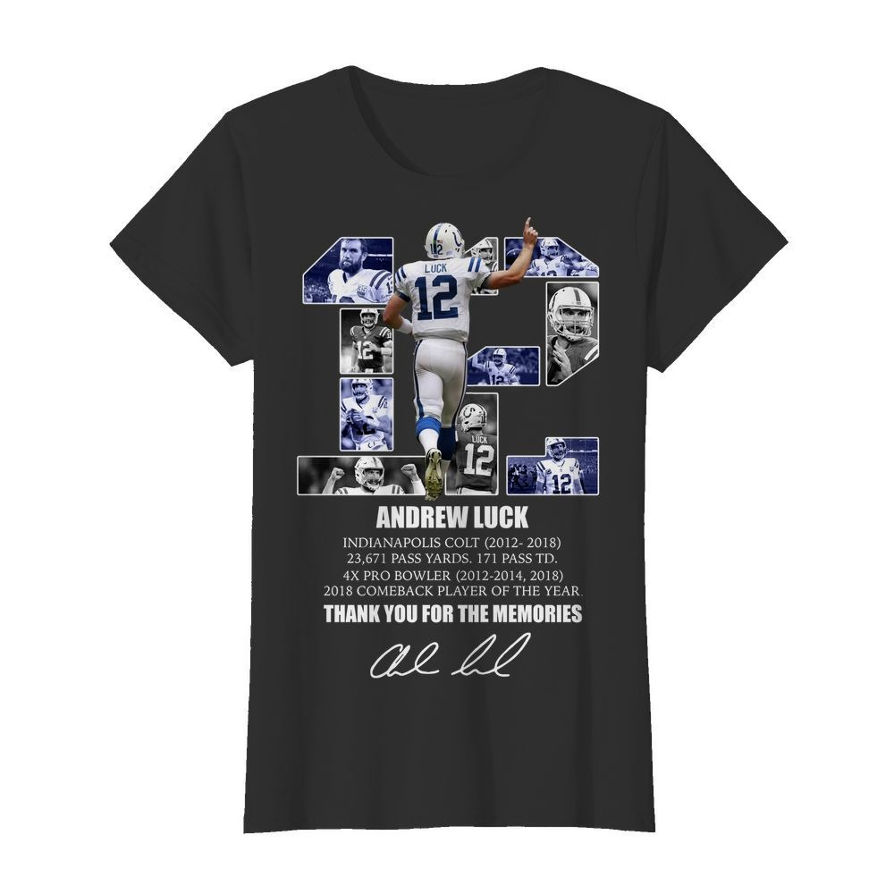 12 Andrew luck thank you for the memories signature Ladies Tee
