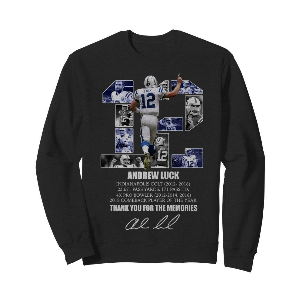 12 Andrew luck thank you for the memories signature Sweater