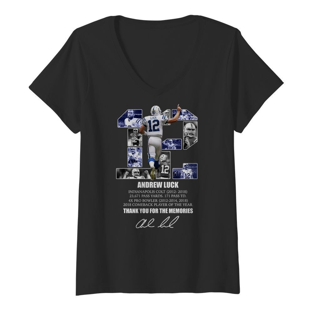 12 Andrew luck thank you for the memories signature V-neck T-shirt