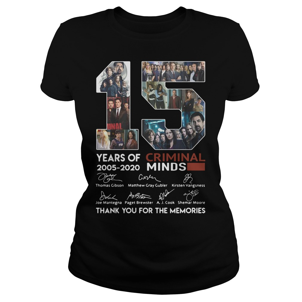15 years of Criminal Minds 2005 - 2020 thank you for the memories Ladies Tee