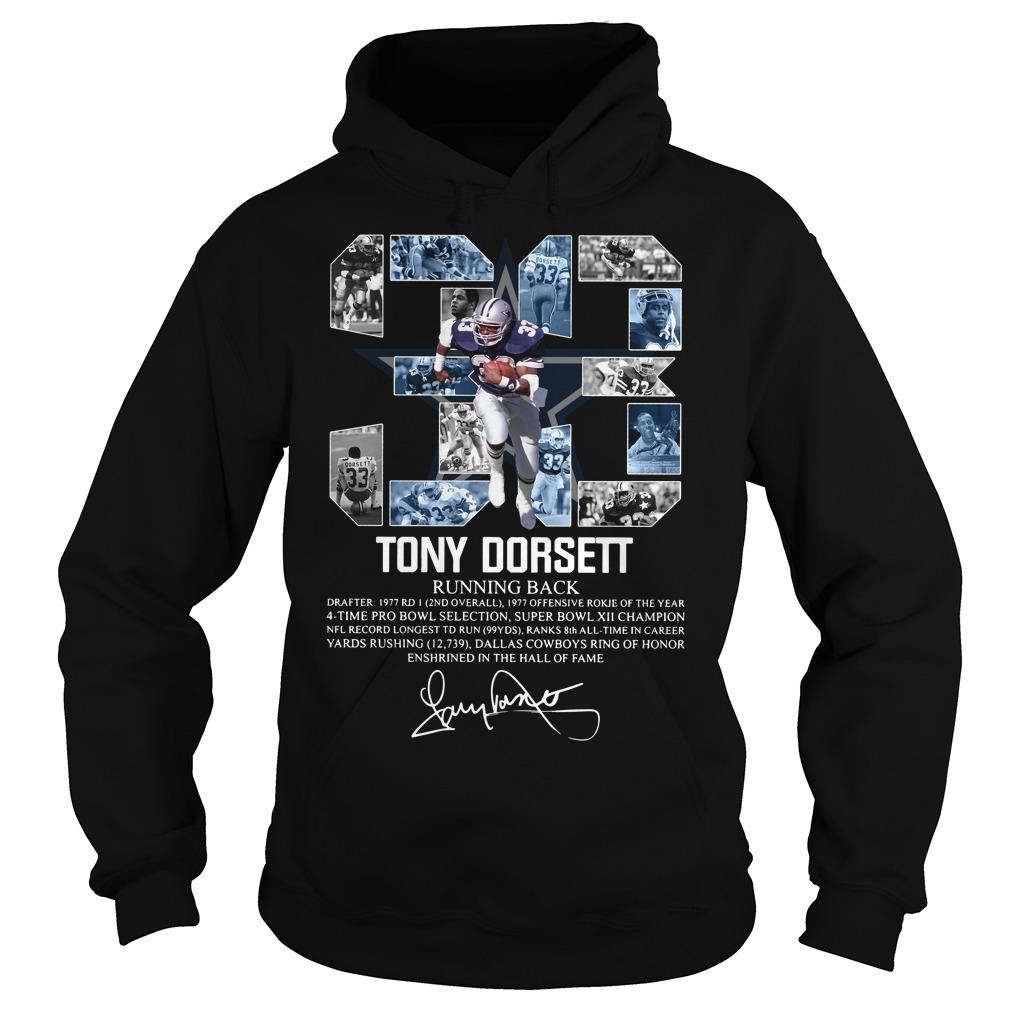 33 Tony Dorsett Running back signature Hoodie