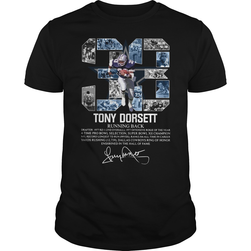 33 Tony Dorsett Running back signature shirt