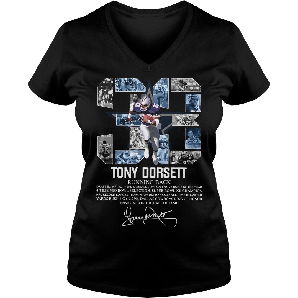 33 Tony Dorsett Running back signature V-neck T-shirt