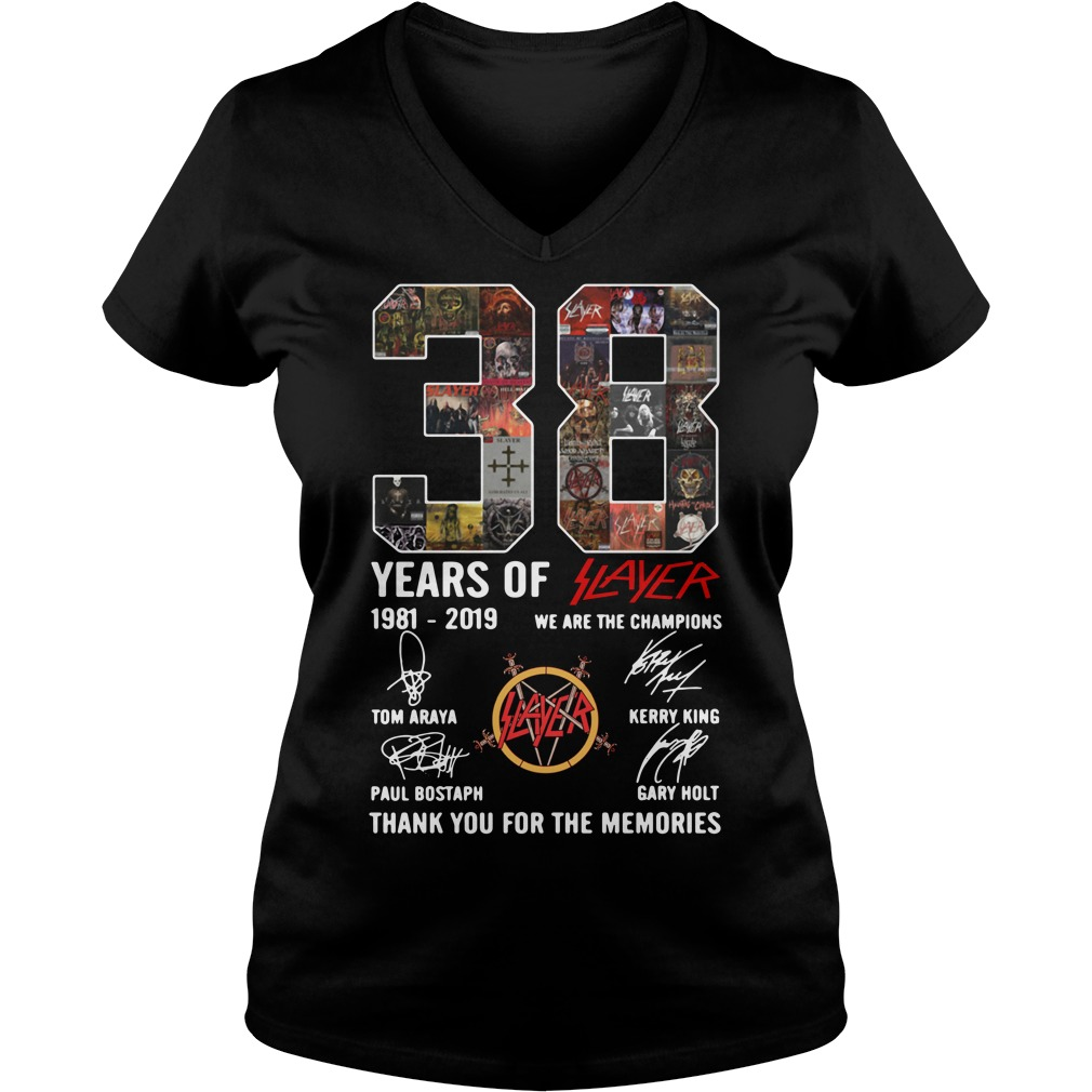 38 years of Slayer we are the champions thank you for the memories V-neck T-shirt