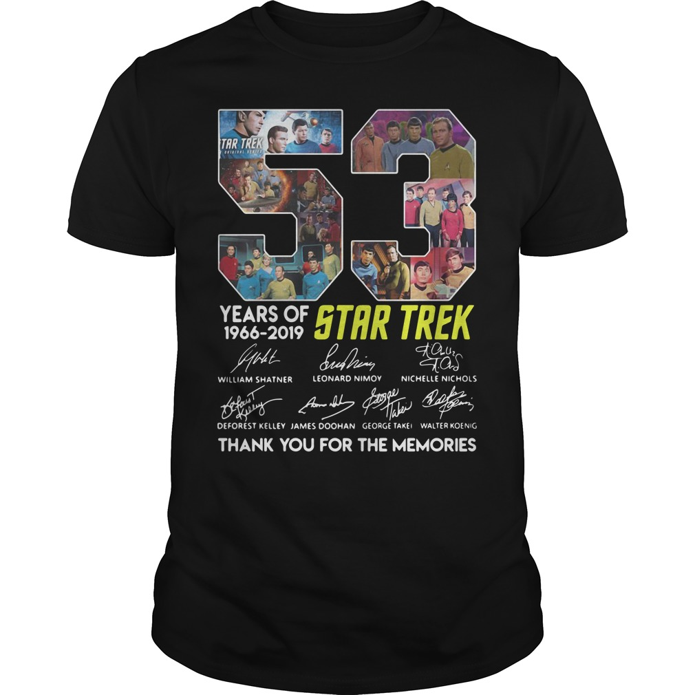 53 years of Star Trek 1966 - 2019 thank you for the memories shirt
