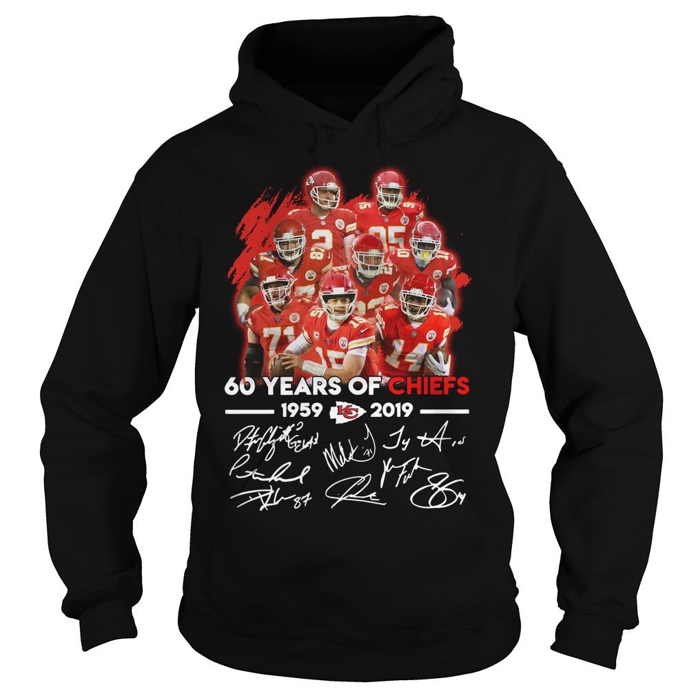 60 years of Kansas City Chiefs 1959 - 2019 signature Hoodie