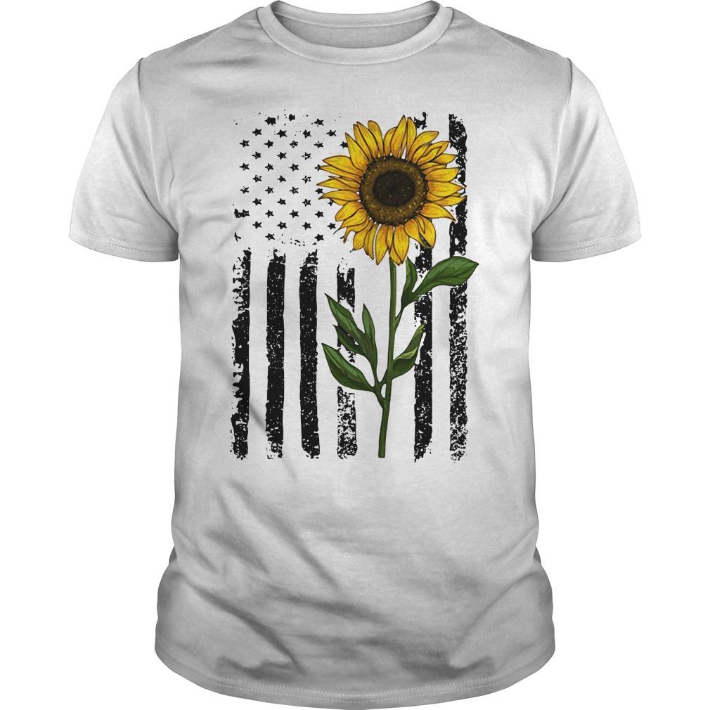 America Flag sunflower hippie vintage Guys Shirt