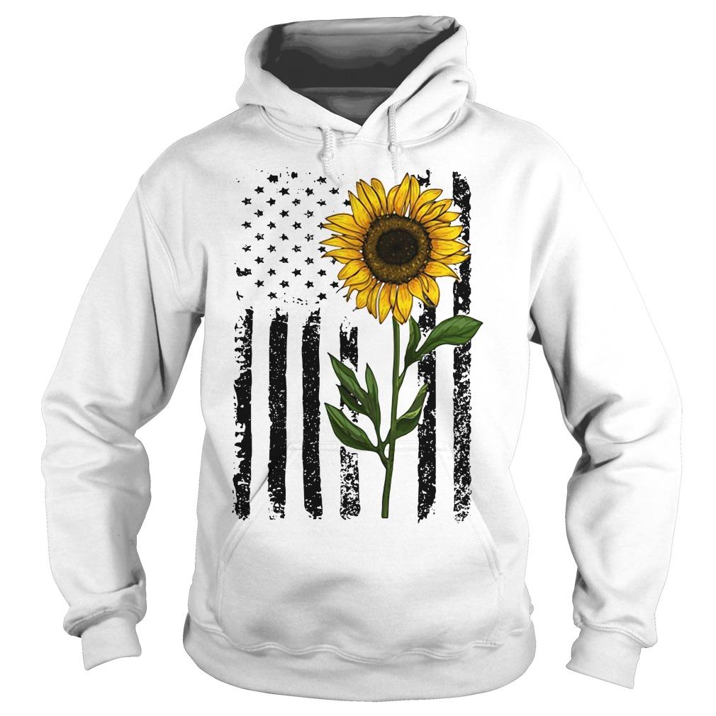 America Flag sunflower hippie vintage Hoodie