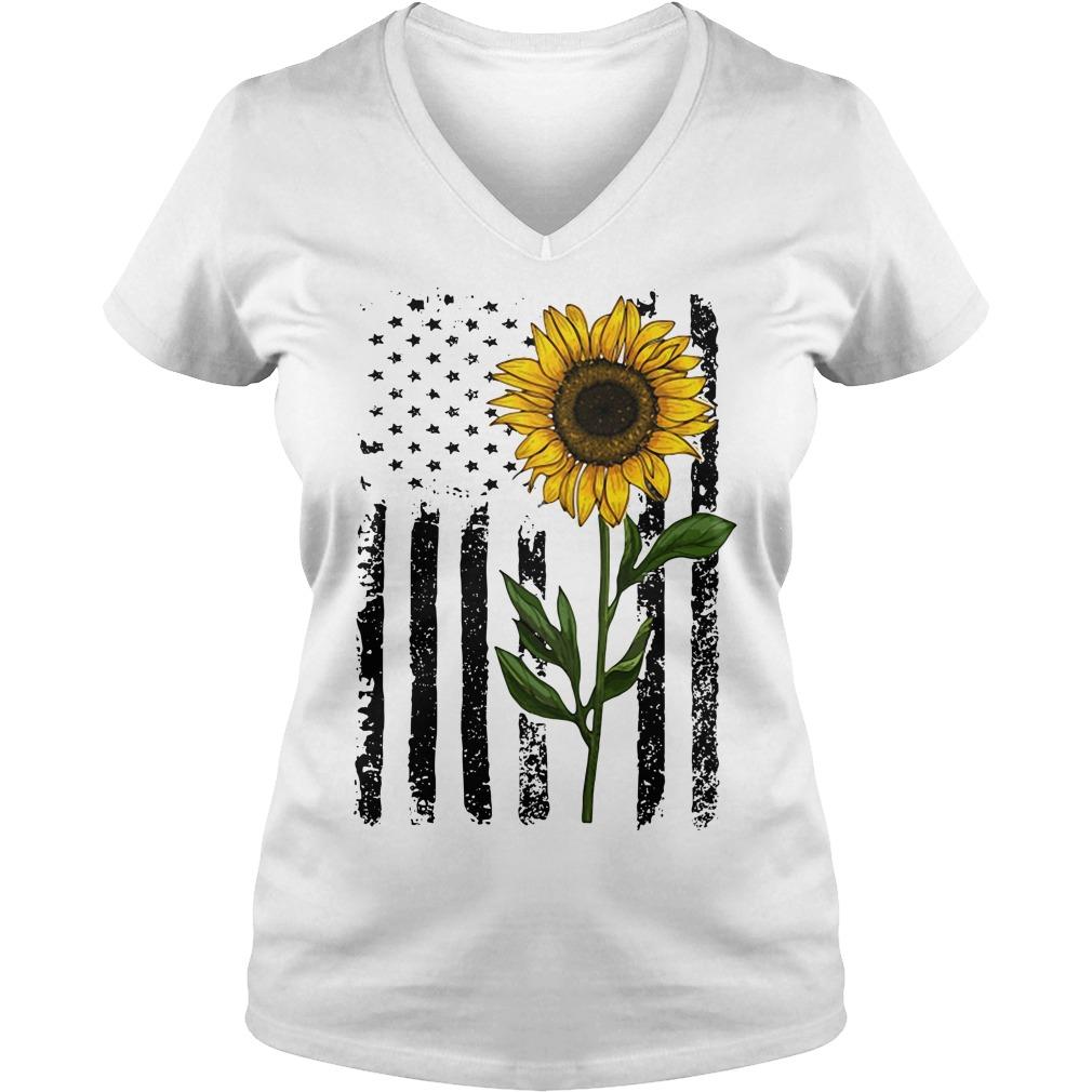 America Flag sunflower hippie vintage V-neck T-shirt