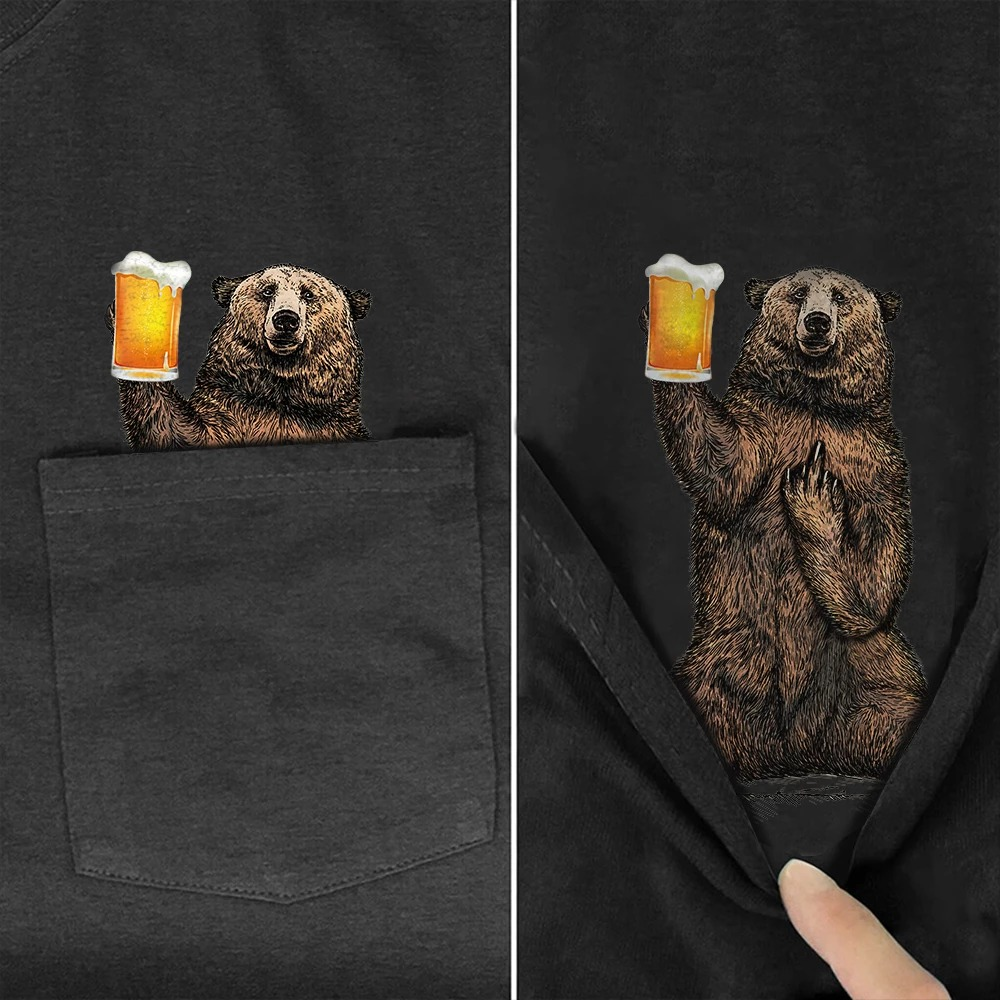 Bear with beer middle finger pocket shirt