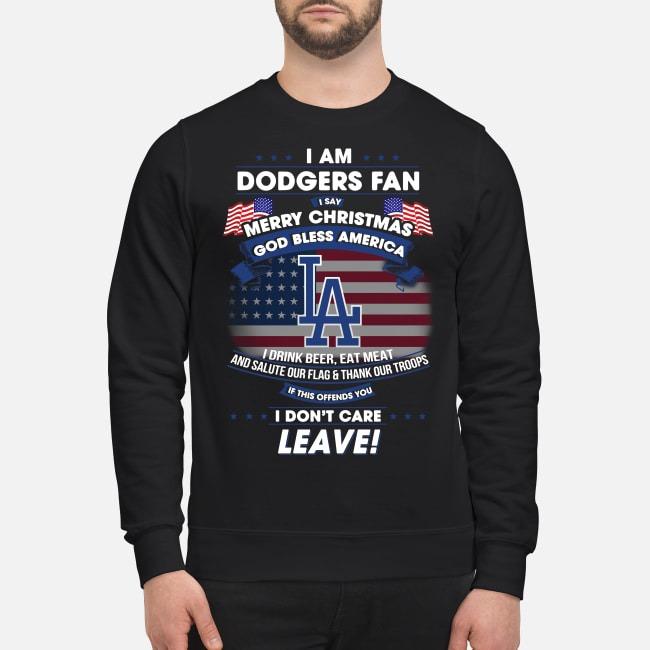 I am Dodgers Fan Merry Christmas God bless America Sweater