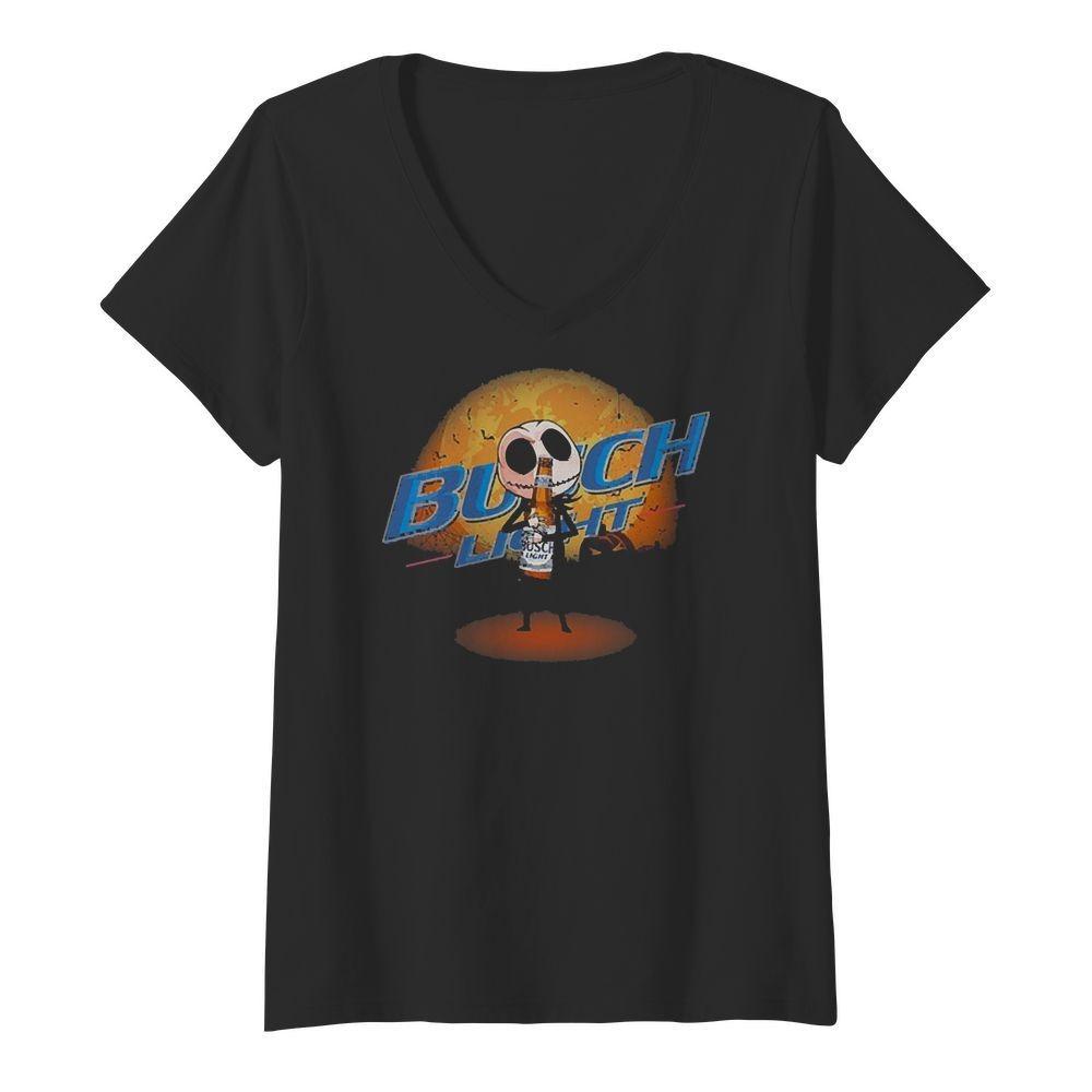 Jack Skellington hug Busch Light V-neck T-shirt