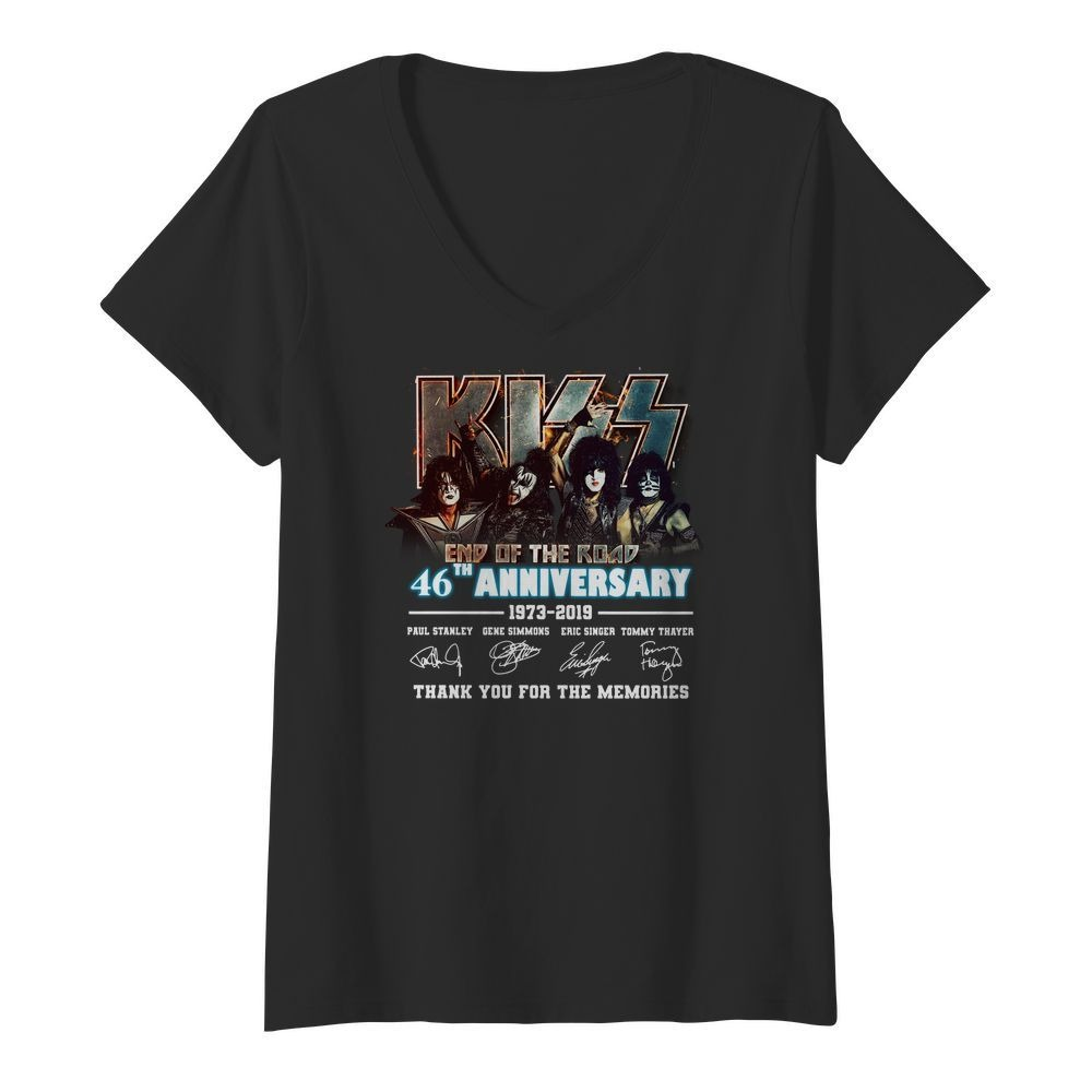 Kiss End of the Road 46th Anniversary 1973 2019 thank you for the V-neck t-shirt