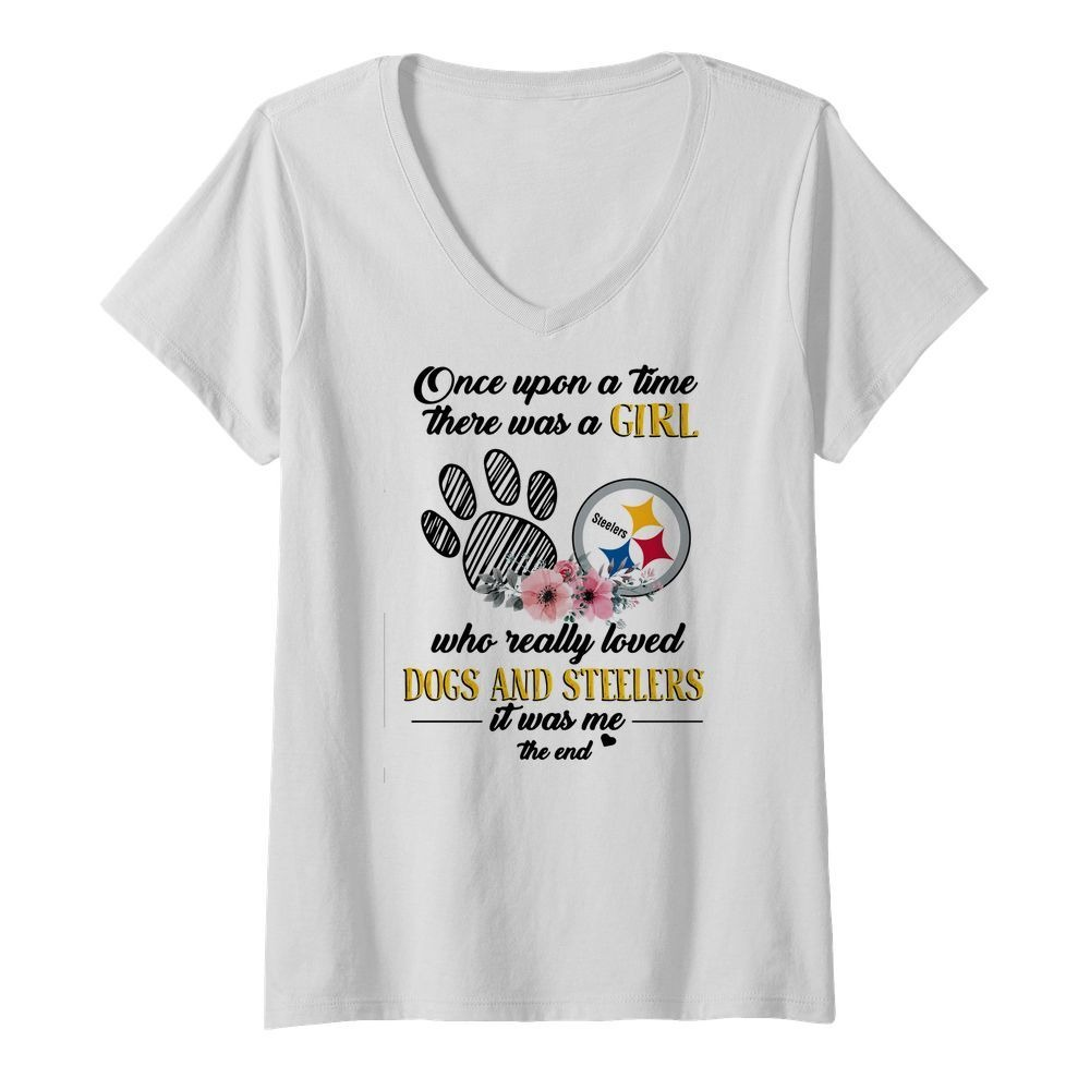 Once upon a time there was a girl who really loved Dogs and Steelers V-neck T-shirt