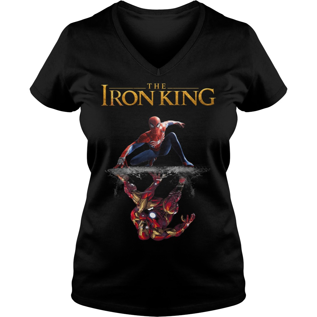Reflection Iron Man The Iron King Spider Man V-neck T-shirt