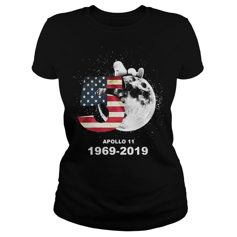 Snoopy 50th Anniversary Apollo 11 1969-2019 America flag Ladies Tee
