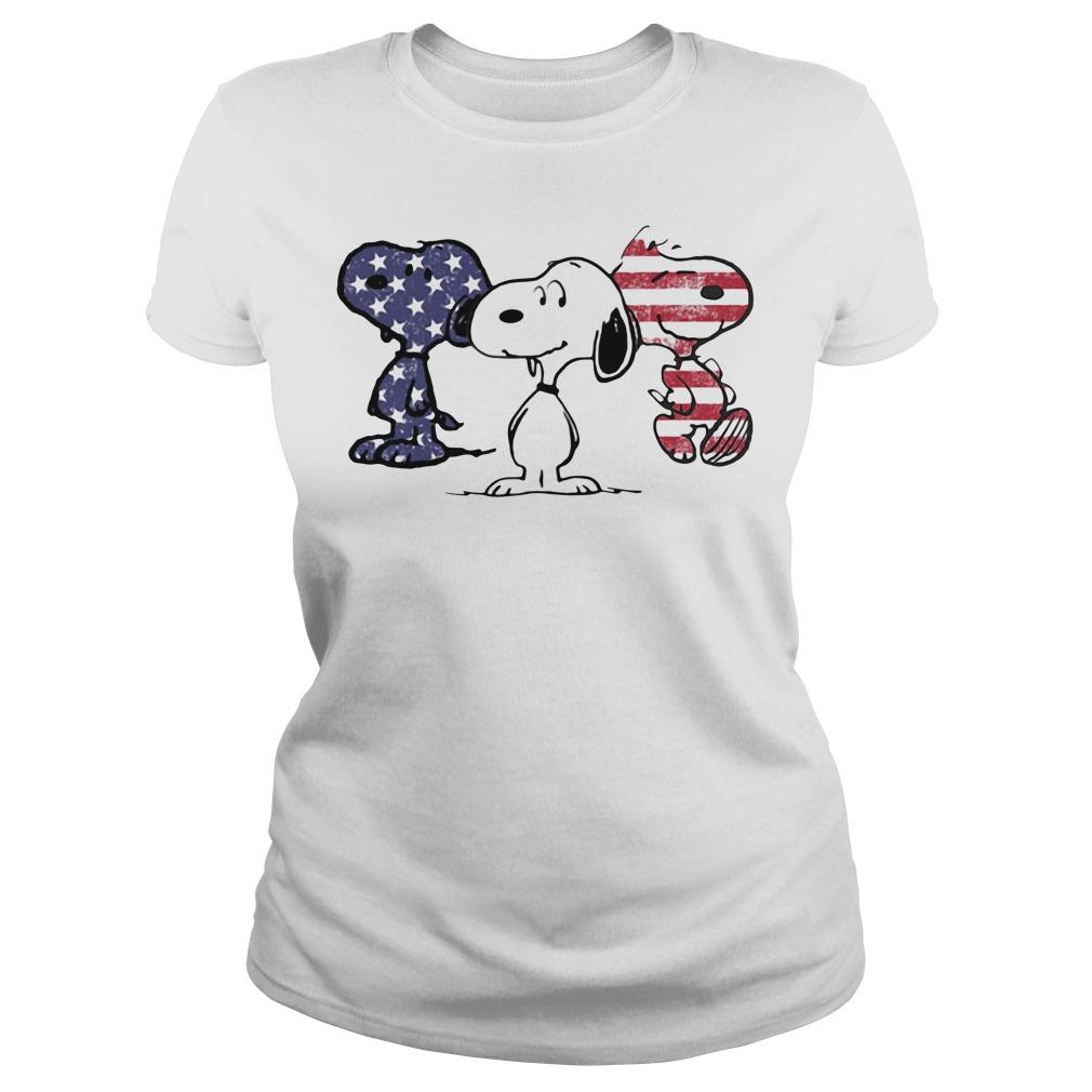 Snoopy America Flag Ladies Tee