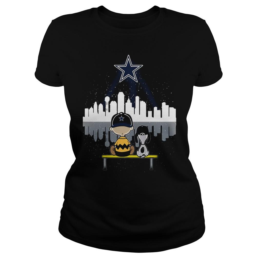 Snoopy and Charlie Brown Dallas Cowboys Ladies Tee