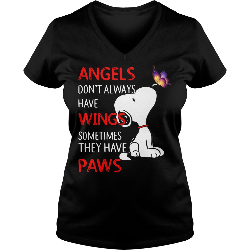 Snoopy angels don't always have wings sometimes they have paws V-neck T-shirt
