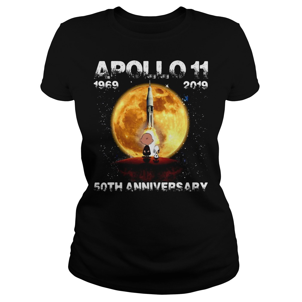 Snoopy and Charlie Brown apollo 11 1969 - 2019 50th anniversary Ladies Tee
