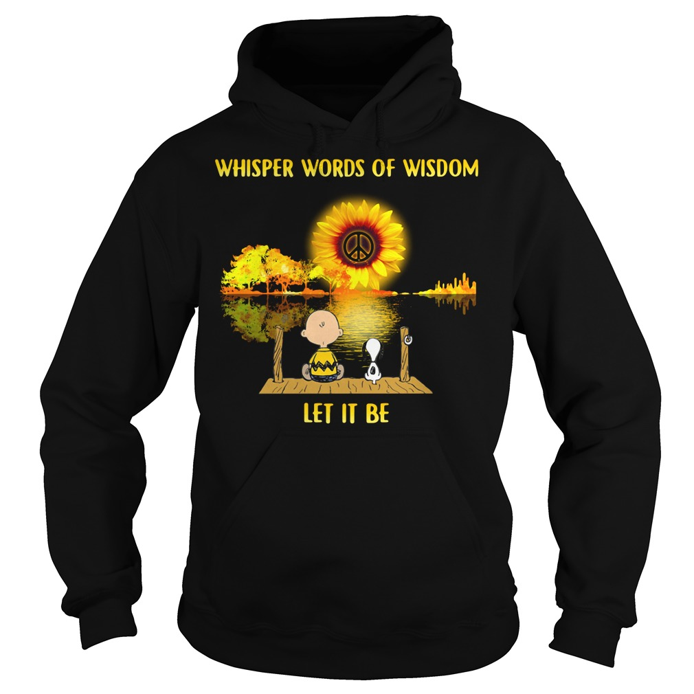 Snoopy and Charlie Brown guitar sunflower whisper words of wisdom Hoodie