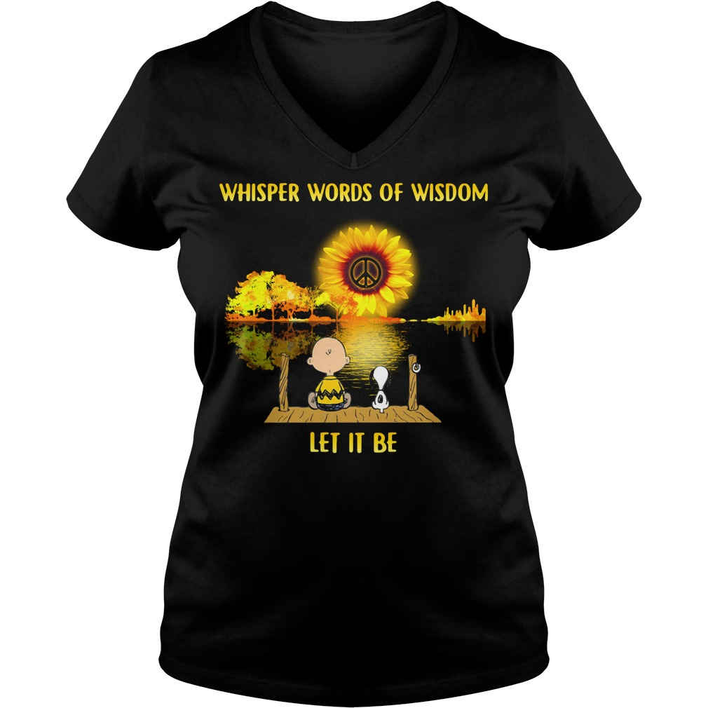 Snoopy and Charlie Brown guitar sunflower whisper words of wisdom V-neck T-shirt