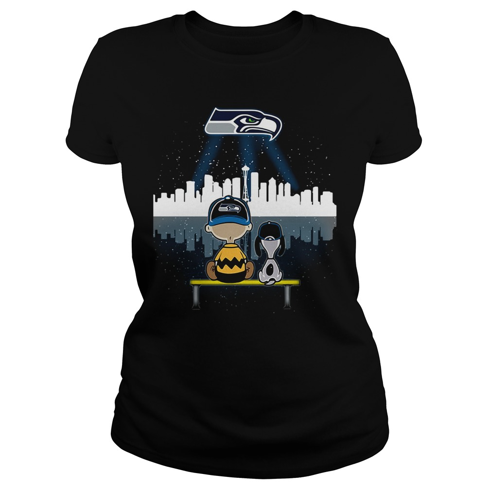 Snoopy and Charlie Brown Seattle Seahawks Ladies Tee