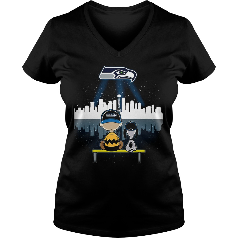 Snoopy and Charlie Brown Seattle Seahawks V-neck T-shirt