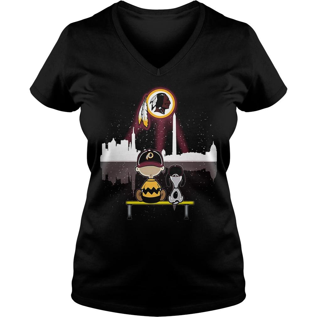 Snoopy and Charlie Brown Washington Redskins V-neck T-shirt