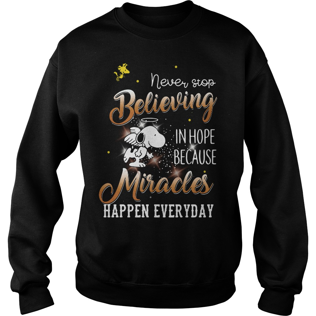 Snoopy and Woodstock never stop believing in hope because Sweater