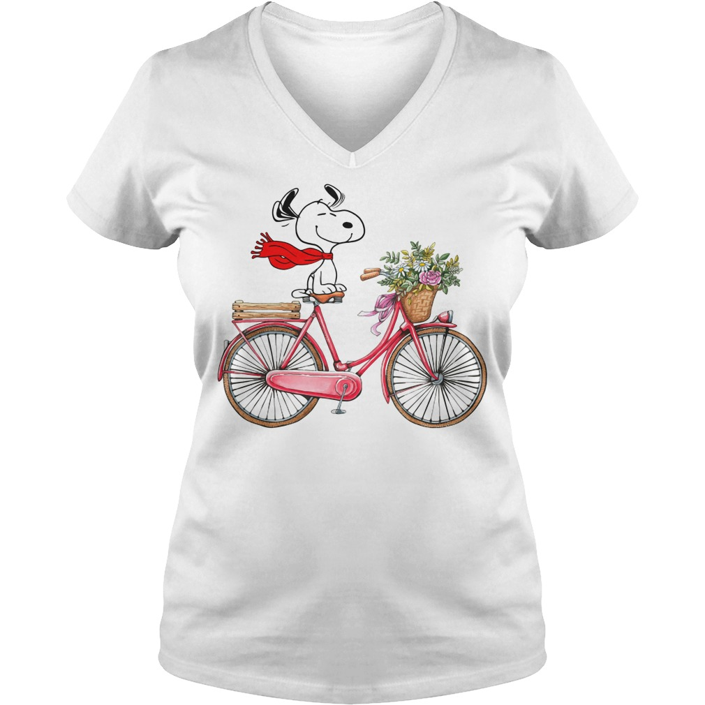 Snoopy riding bicycle V-neck T-shirt