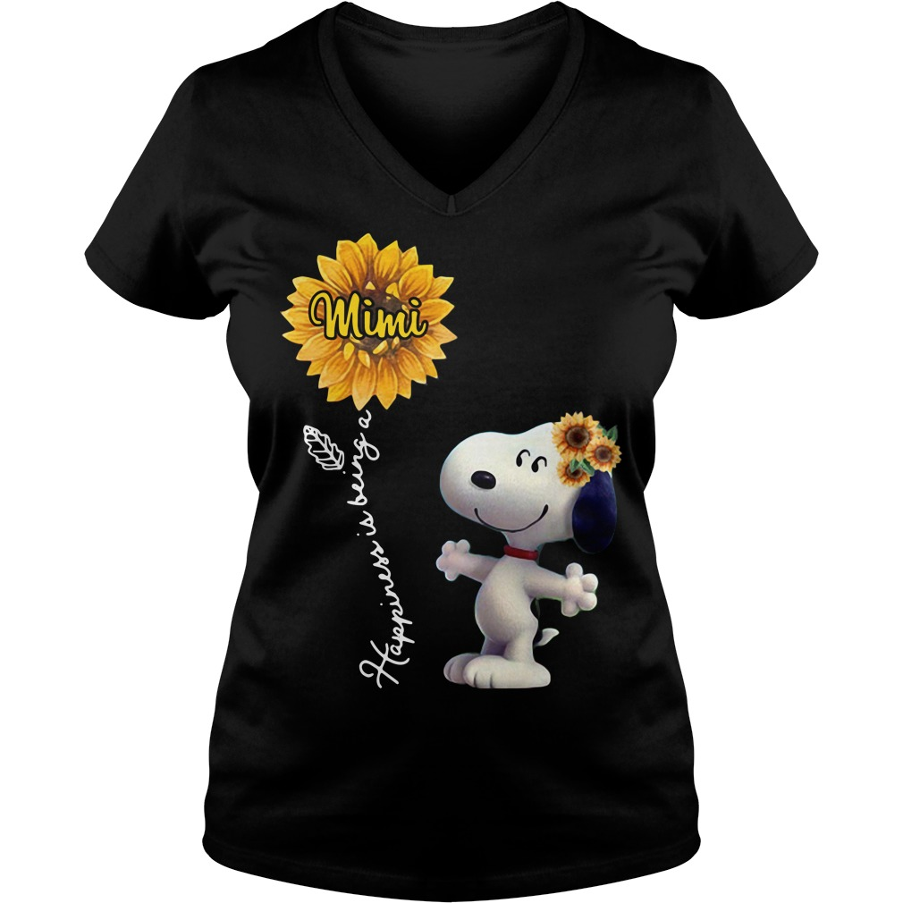 Snoopy sunflower happiness is being a Mimi V-neck t-shirt