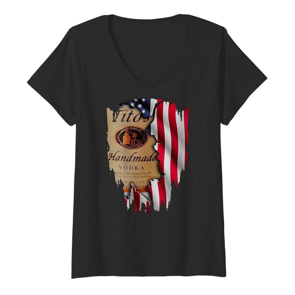 Tito's Handmade Vodka America flag V-neck t-shirt
