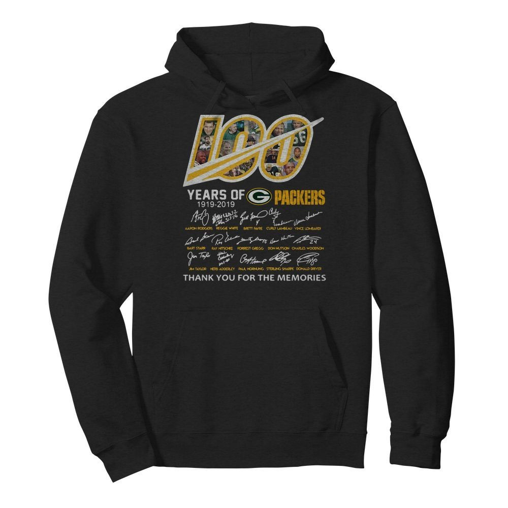 100 Year of Green Bay Packers thank you for the memories signature Hoodie