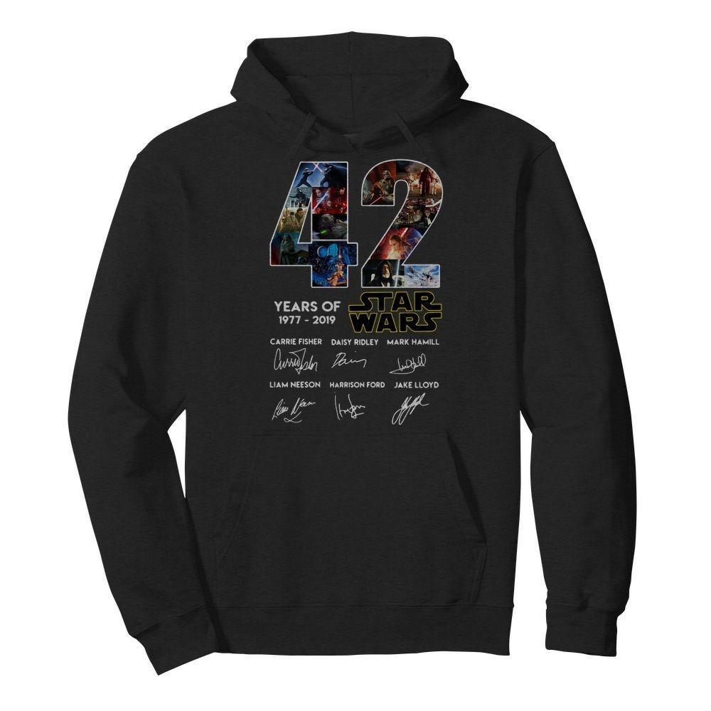 42 years of star wars 1977-2019 signatures Hoodie