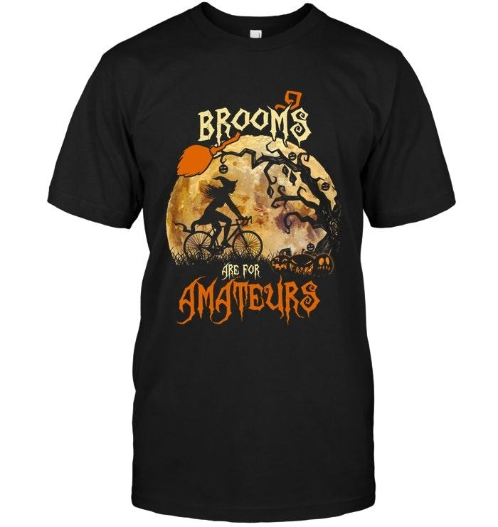 Brooms are for Amateurs witch riding bike cycling Halloween shirt