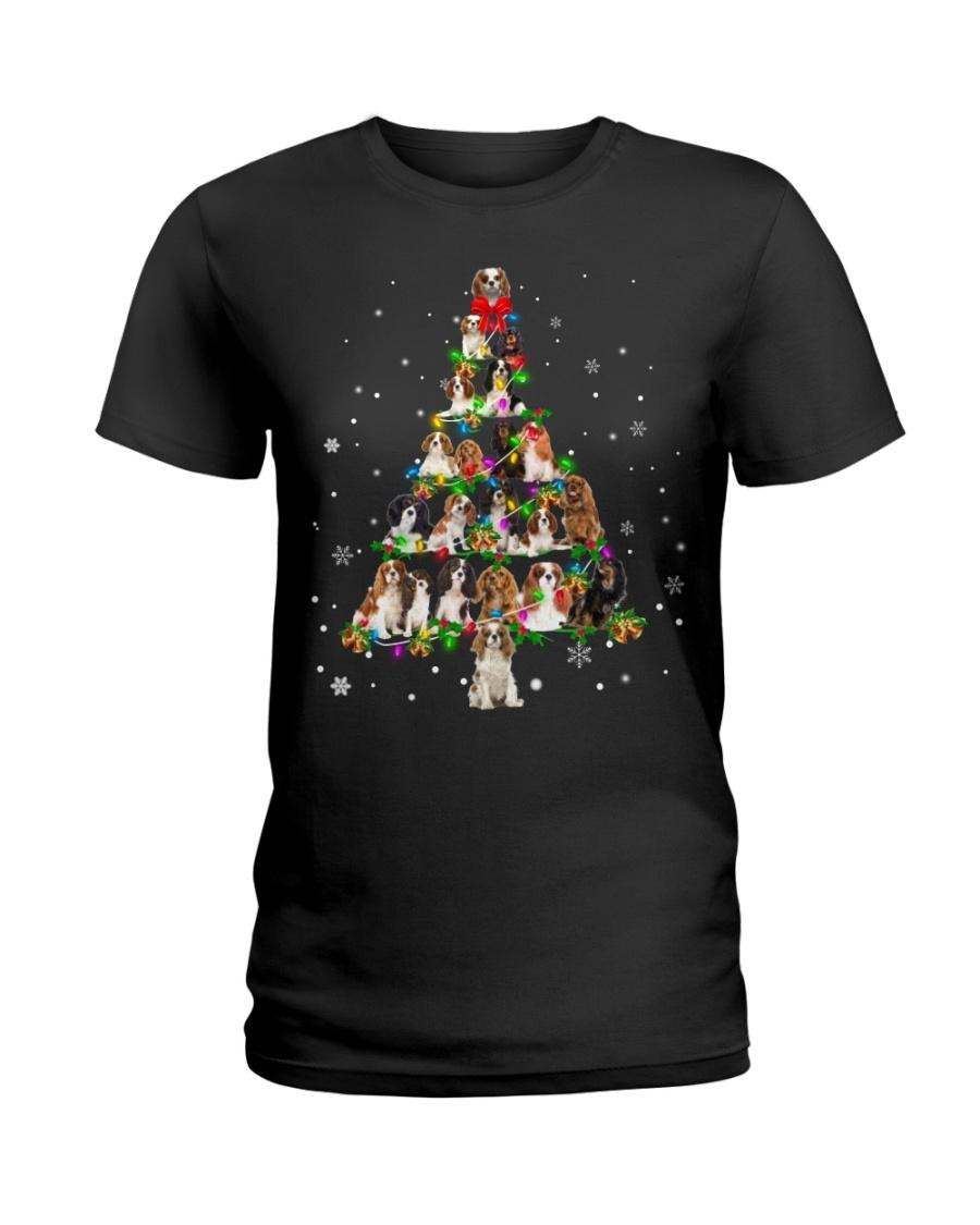 Cavalier King Charles Spaniel Christmas tree Ladies tee
