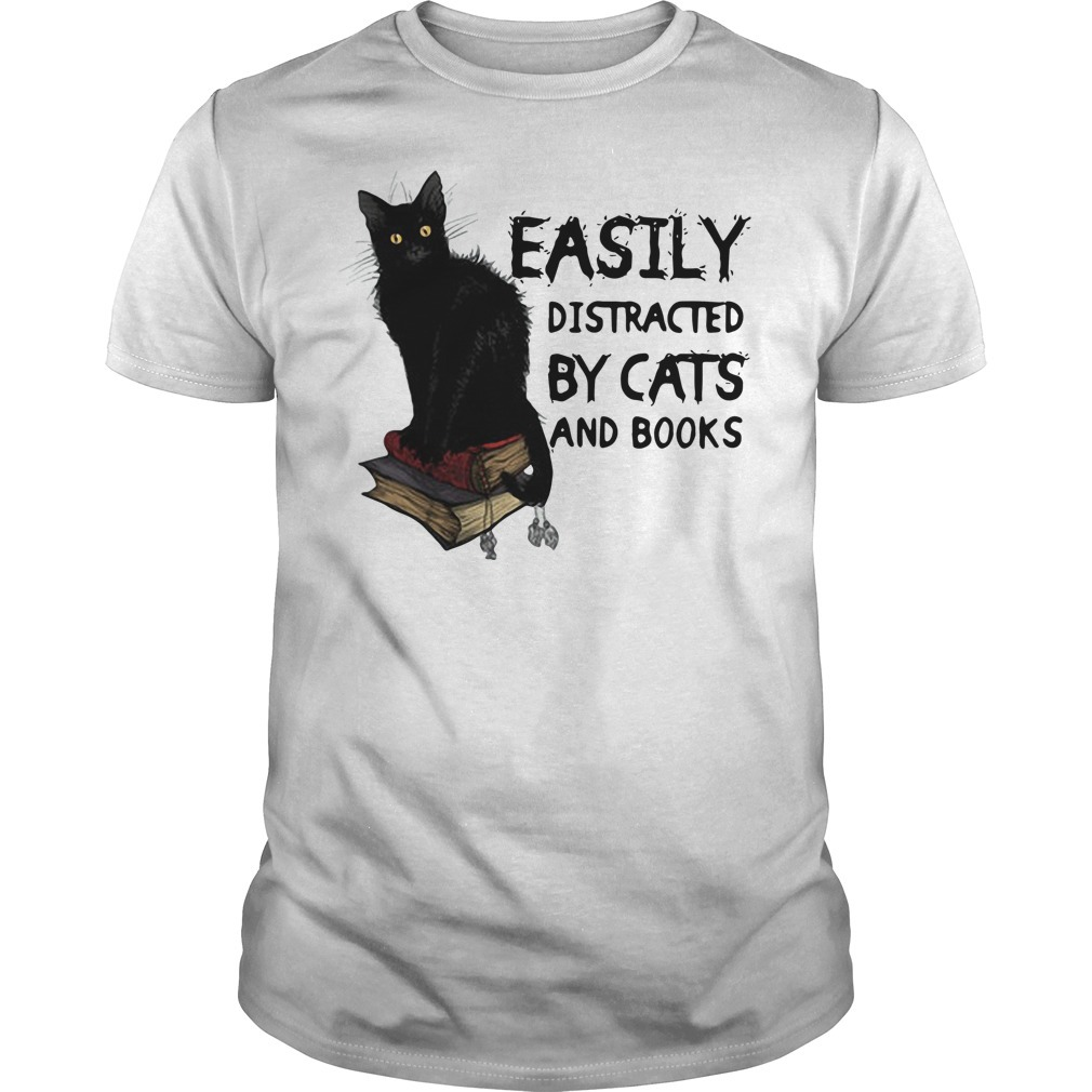 Easily distracted by black cat and books shirt