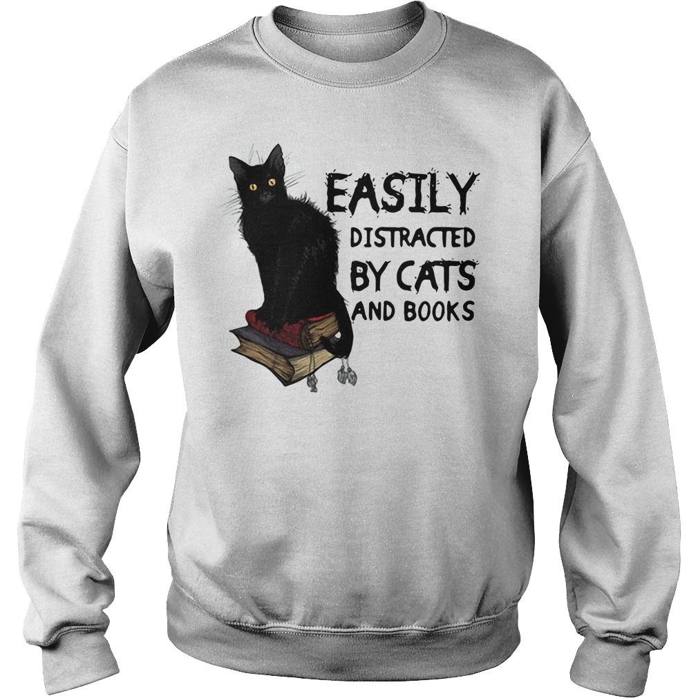 Easily distracted by black cat and books Sweater