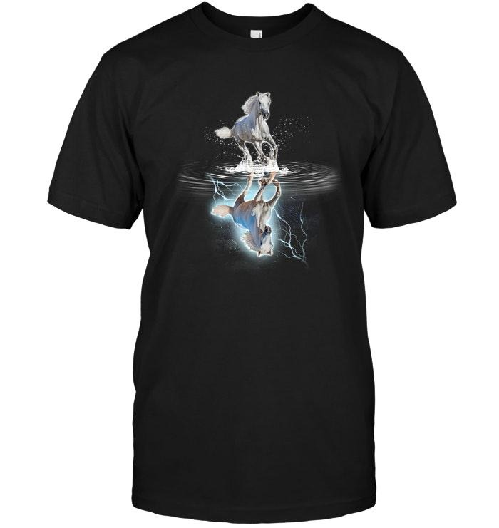 Galloping Horse water mirror reflection shirt