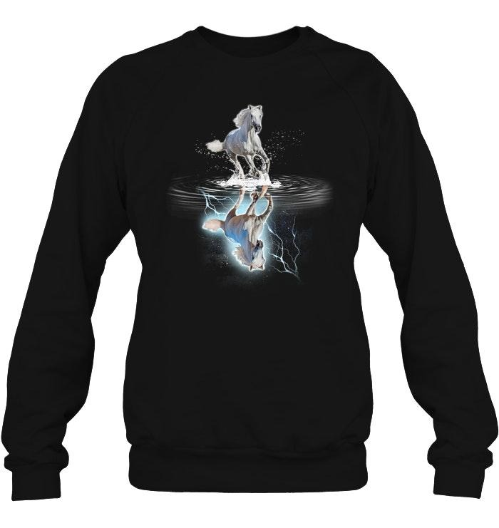 Galloping Horse water mirror reflection Sweater