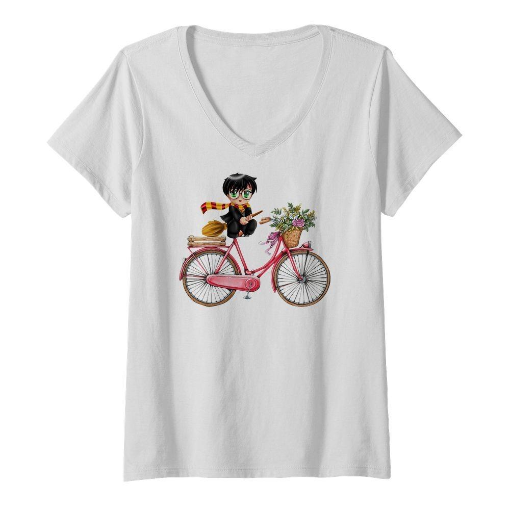 Harry Potter chibi riding bicycle V-neck T-shirt