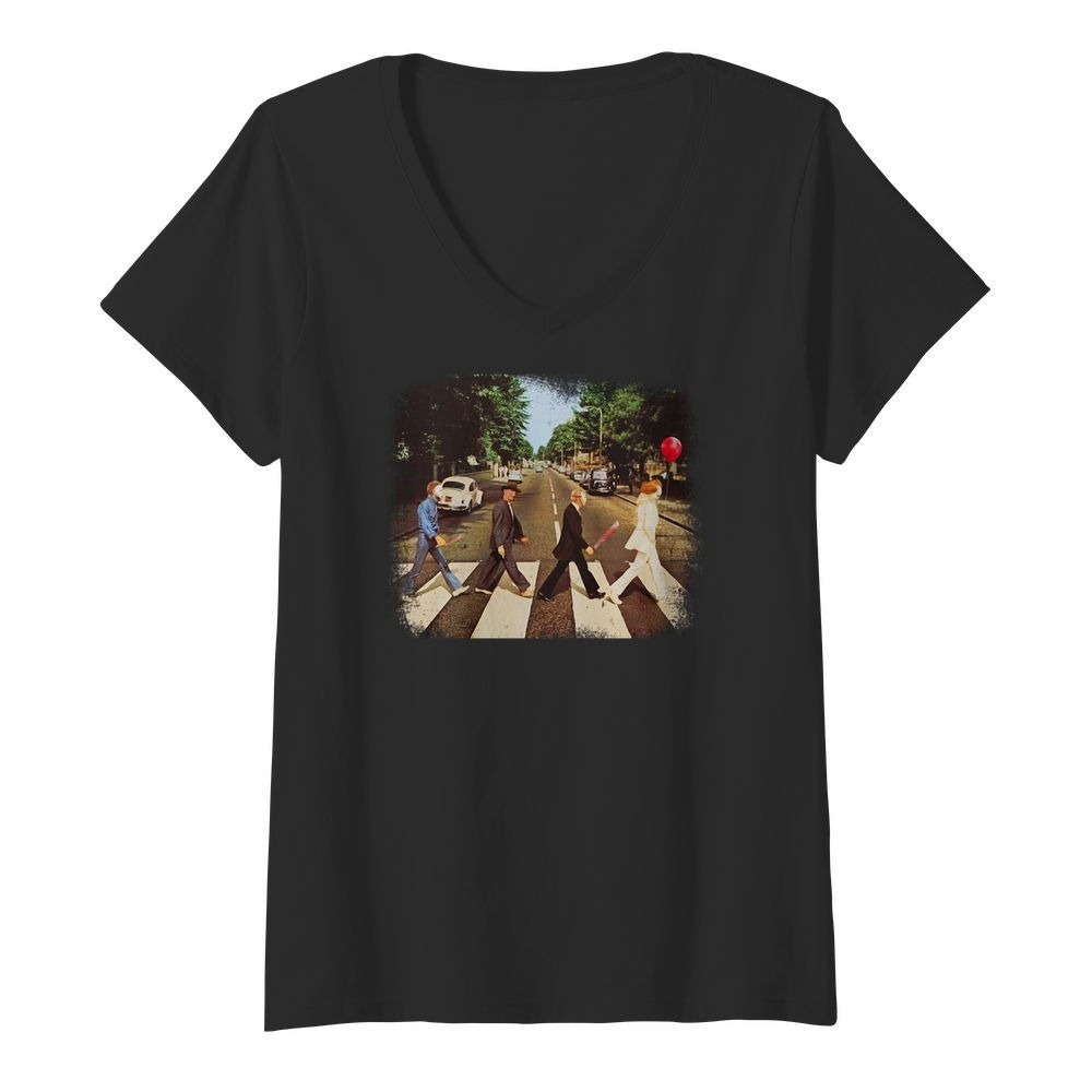 Horror movie characters walking Abbey Road V-neck T-shirt