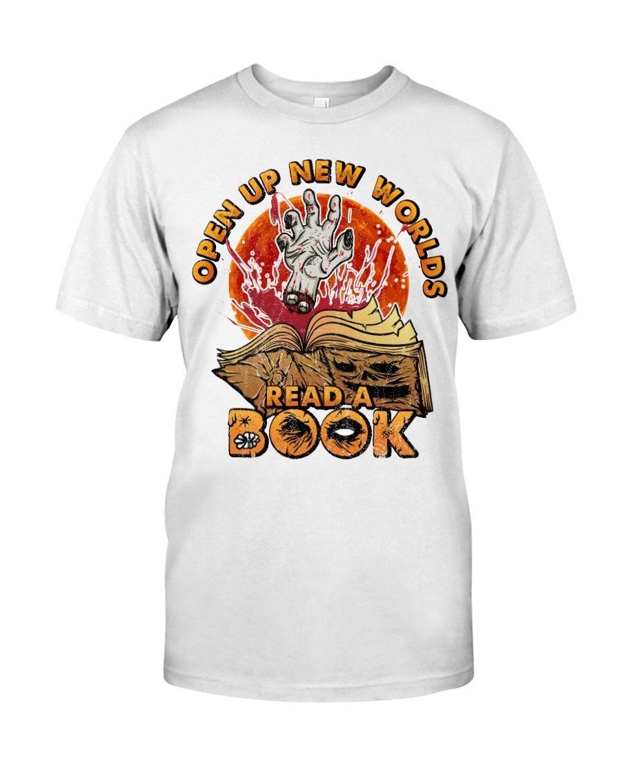 Open up new worlds read a book Halloween shirt